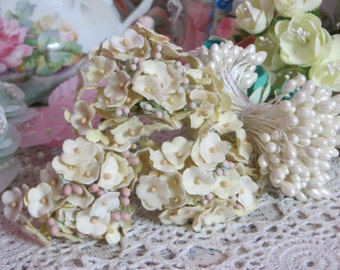 Vintage Velvet Flocked Butter Yellow Millinery Flowers-Bunch-Mixed Media-Altered Art-Corsage-Supplies