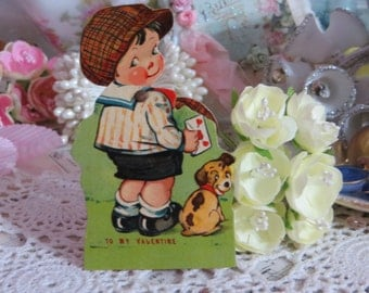 Vintage Childrens Valentine Card-1920s-Victorian-Mechanical-Germany