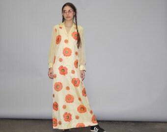 Vintage 1960s Floral Poppy Hippie Boho Hawaiian Alfred Shaheen Maxi Dress -  1960s Maxi Dress - 60s Maxi Dresses  - WD0714