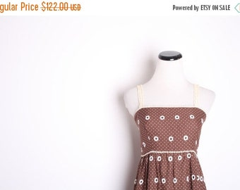 75% OFF FINAL SALE - Vintage 1960s Cotton Brown Boho Maxi Dress / Vintage Dress / Dresses /  Maxi Dress / Brown Dress / Rustic Fall / Woodla