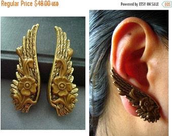CLEAROUT SALE 40% OFF Ear cuff No Piercing-- vintage style ox brass art nouveau style flower motif wing earrings, E467
