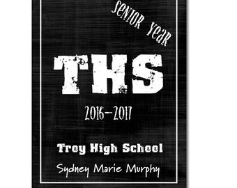 Hardcover Memory Book - High School Senior Year (Class of 2017) Graduation, Senior 2017, Photo Album, Scrapbook, Custom, Big Brown Chair