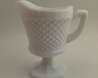 Vintage Milk Glass Creamer - English Hobnail pattern by Westmoreland