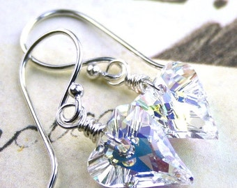ON SALE Swarovski Wild Heart Crystal Earrings in Crystal AB - Handmade with Sterling Silver and Swarovski Crystal Hearts