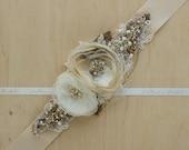 Wedding belt, wedding dress belt, Bridal sash, Burlap belt, Burlap bridal sash, Rustic Shabby chic floral Champagne Ivory Nude OOAK