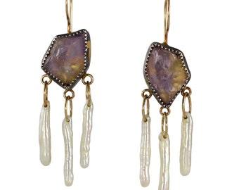 Trystine Swing Earrings - Ametrine, Pearl Sticks, Fine Silver, Recycled Silver and 14k Gold - Mixed Metal, OOAK, Talisman, Chandelier