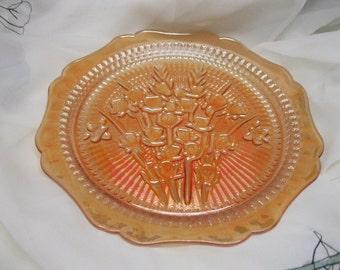 Marigold Carnival Glass Plate Jeanette Iris Herringbone 50s Platter