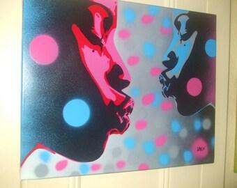 Kiss series stencil art painting urban afro american art African pop art pink blue abstract graffiti street art canvas home spray paints pop