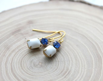 Blue and White Vintage Stone Earrings