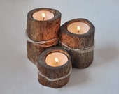 natural birch candle holders • set of 3