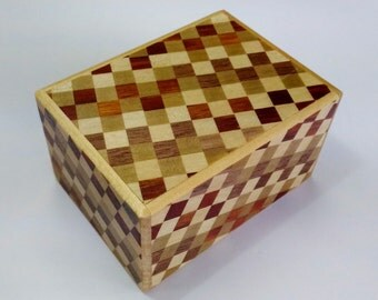 Japanese Puzzle box (Himitsu bako) 3.5inch 3sun 4 steps checkered pattern