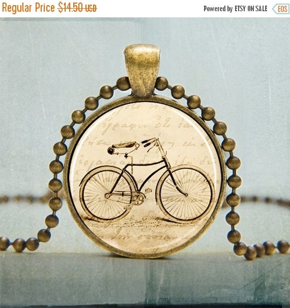 ON SALE Vintage Two Wheel Bicycle Necklace Art Pendant in Silver Copper Bronze Black with Free Ball Chain - No. 2010
