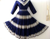 Vintage 50s 60s Mexican Patio Dress - Navy Blue and Silver Circle Skirt Dress by Sun Ray Arizona - Rockabilly Mexican Dress - Large  X Large