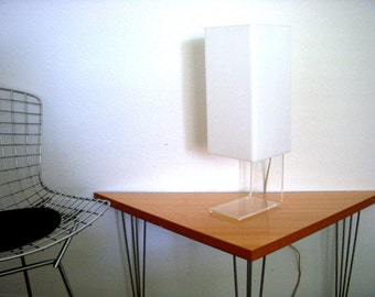 Vintage 60s 70s Lucite Table Lamp - Mid Century Modern White & Clear Lucite Atomic Minimalist Accent Lamp - Modernist Geometric Desk Lamp