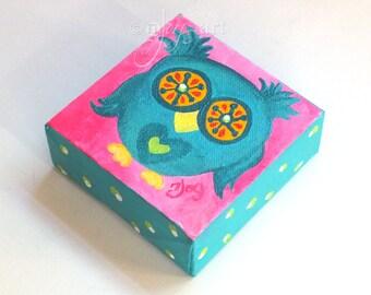 Miniature Owl Art, The Daily Hoot 9.18.16, Mini Painting, 4x4 acrylic canvas
