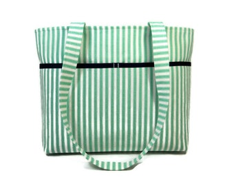 Green Stripe Tote Purse, Ticking Bag, Fabric Tote Bag, Cotton Tote Bag, Striped Shoulder Bag, Ticking Fabric Purse, Medium Tote Purse
