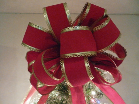 Items Similar To Large Red Velvet Gold Trim Ribbon