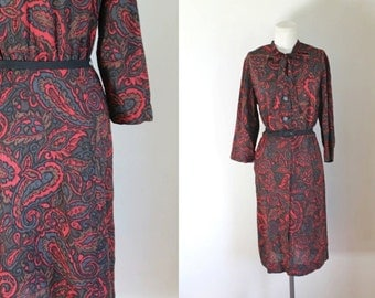 50% OFF...last call // vintage 1960s shirtwaist dress - NELLY DON ascot tie dress / M