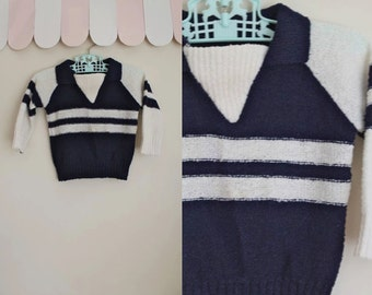 vintage 1970s baby sweater - NAUTICAL STRIPES navy & white nubby knit top / 12M