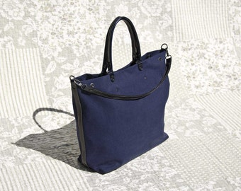 padbag TOTE for modern ladies - - NAVY canvas and BLACKMARINE leather