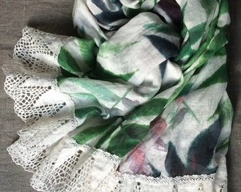 Floral scarf with printed green purple leaves, lightweight gauzy pure linen designer's scarf with wide crochet lace
