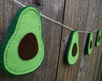 Avocado Garland, Avocado Bunting, Felt Avocado, Avocado Decor, Avocado Gift, Avocado Toast, Avocado Love, Kitchen Garland, Green Garland