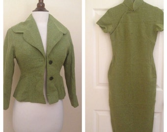Vintage green wool qipao suit set 1950s 1960s