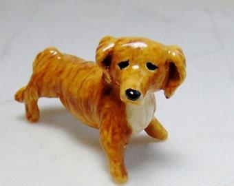 Long Hair Dachshund Sculpture -Terrarium Miniature Dog - Ceramic Figurine  - Dog Miniature -  Dachshund Figurine - Peggy Hamlin