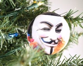 Guy Fawkes Ornament - Glitter Ornament - Occupy Ornament - V for Vendetta - Stocking Stuffer - Gift Under 15