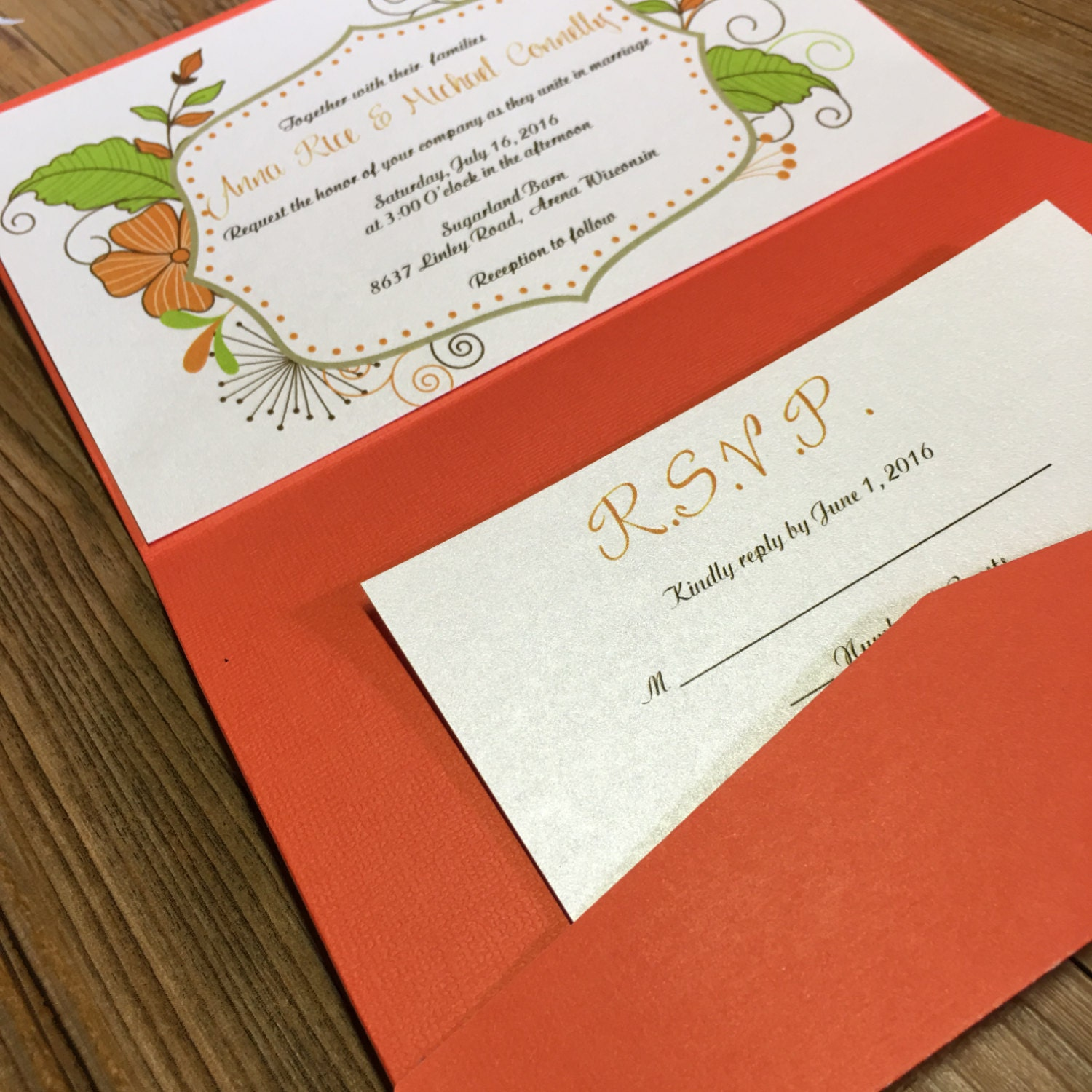 Boho Wedding Invitation - Pocket Wedding Invitation - Orange Wedding ...