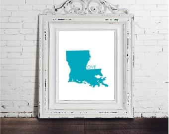 Louisiana Love art print, DIGITAL DOWNLOAD, quote. bluewhite LA new orleans lafayette baton rouge typography decor home housewarming gift