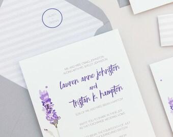Modern Lavender Wedding Invitations,Rustic Floral Wedding Invites,Striped Purple Wedding Invitation, Boho Lavender Wedding Invitation Set