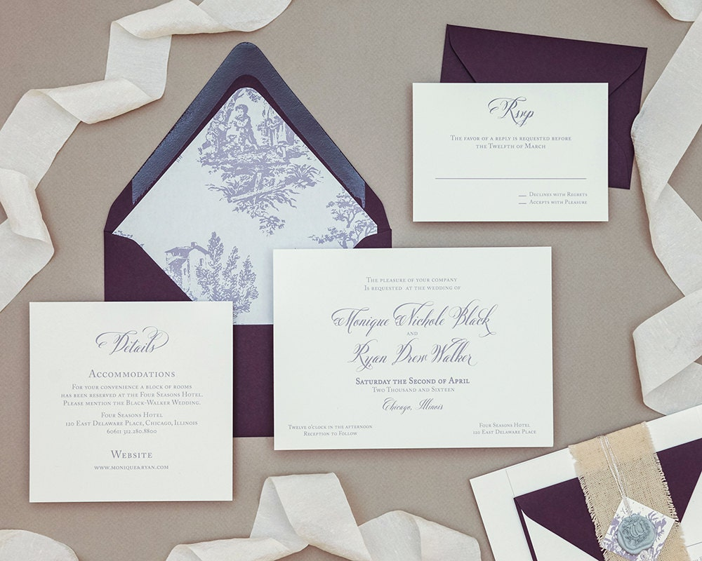 Calligraphy Wedding Invitations: Elegant Calligraphy Toile Wedding Invitation Digital