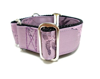 """Houndstown 1.5"""" Lavender Dragonflies Collar, Martingale or Buckle, Any Size"""