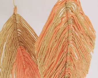 Boho - tree slice mobile - yarn feathers - yarn mobile - woodland mobile - tribal - nursery mobile - bohemian