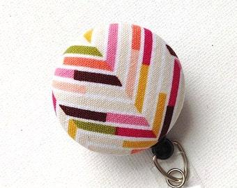 ID Badge Reel Multicolor Chevron Name Badge Holder Beige Pink