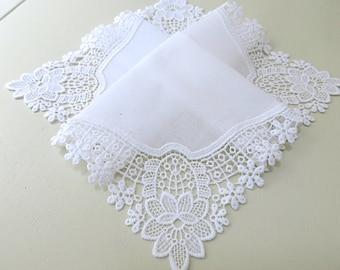 Bridal Accessories: Wedding Handkerchief, White German Plauen Lace Handkerchief Style No. 40932 with Classic 3-Initial Monogram