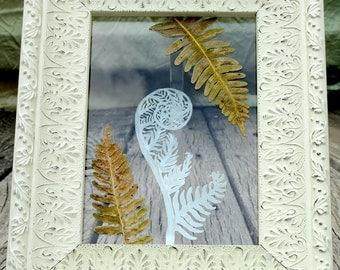 Handmade Wall Art, Fern Wall Art, Fiddlehead Fern Art, Wedding Gift, Nature Art, Botanical Art