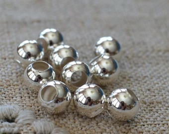 10pcs Sterling Silver Bead 8mm Seamless Round  .925  4mm Hole