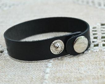 Leather Cuff Bracelet Base - Black Flat Band Wide 20.5cm x 1.5cm Natural