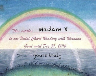 ASTROLOGY Natal Chart GIFT CERTIFICATE - Professional Reading