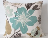 Large gorgeous floral blue gray tan decorative throw pillow cover