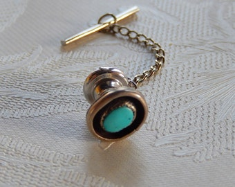 Turquoise Tie Tack, Vintage Tie Tack, Men's Accessories, Gift for Him