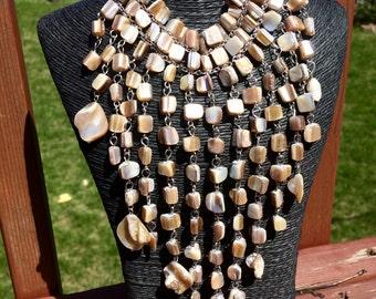 Unique Custom Design Sea Shell Bib Necklace / Feng Shui Jewelry / Heart Chakra / Reiki