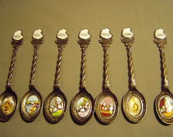 Vintage Lot Sunbonnet Baby Days 5 Silver Plated Spoons Enamel Plaques Limited Edition 2500 Sets 8495