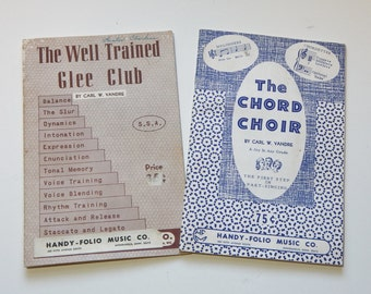 Vintage Sheet Music Choir Glee Club 1958 1964 Paper Ephemera 50's 60's Mid Century Songbook Pair School Music Class Carl W.Vandre