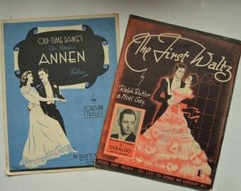 Vintage Sheet Music, The Annen Polka, The First Waltz, 1940s, 1942/ 47, Music Ephemera, Dance Music, Johann Strauss, Dance Illustrations