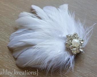Ivory White Feather Hair Clip Wedding Bridal Bride Bridesmaids Rhinestone Pearl Headpiece PRISCILLA Fascinator Prom Accessory CUSTOMIZABLE