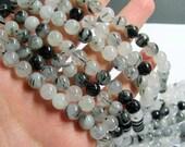 Tourmalinated quartz - 8 mm round beads -1 full strand - 48 beads - RFG823