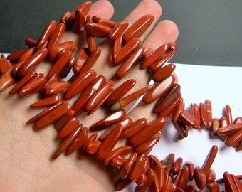 Red jasper stick beads - full strand - 75 beads - A quality - PSC242